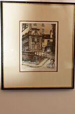 Painting On Silk H Lersch Heinrich Framed Painting Vintage Austrian Very Cool