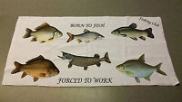 Born to fish Angling hand towel personalised with name or club
