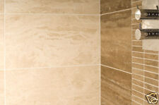 IVORY VEIN CUT POLISHED TRAVERTINE TILES BEVELLED EDGE 91.5x30.5x1.5cm £44.99