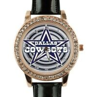 NFL Dallas Cowboys Watch Womens Faux Black Leather Strap Fashion