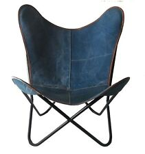 Bluish Denim Butterfly Chair Iron Stand & Leather Indoor Outdoor Chair