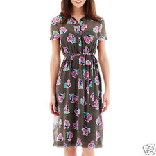 I Heart Ronson Short-Sleeve Belted Floral Dot Print Shirtdress Size XS New