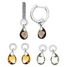Interchangeable Multi-Stone Earrings with Diamonds in Sterling Silver
