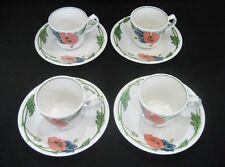 VILLEROY & BOCH Germany  AMAPOLA Pattern  4- COFFEE / HOT TEA CUP & SAUCER SETS