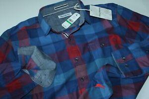Tommy Bahama Shirt Camano Bay Check Bering Blue ST325325 LS New Large L