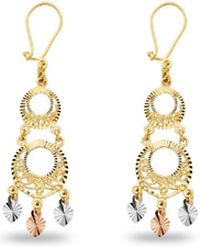 Gold Tri Gypsy Filigree Long Chandelier Earring 14k Solid Real