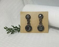 Vintage Signed GRAZIANO Marcasite Drop Clip On Earrings