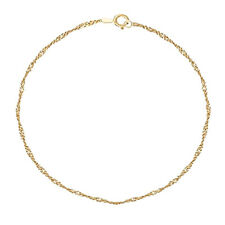 9 INCHES 1.3MM 14KT SOLID YELLOW GOLD SINGAPORE ANKLET BRACELET