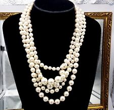 Vintage 1980s J.Crew statement Faux pearl beads multi strand necklace.
