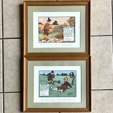 Crombie Rules of Golf Lithos Prints Framed Vintage Perrier Edition Lot of 2