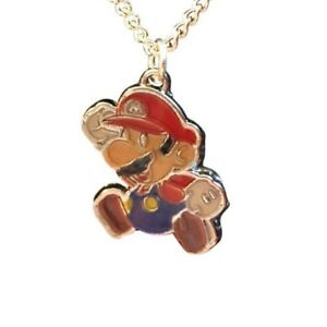 "Super Mario Charm Necklace Pendant 16"" Silver Plated, Gift Boxed, USA"