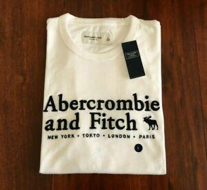 NWT Abercrombie & Fitch Mens Graphic Logo Tee T-Shirt Size M L XL Black & White