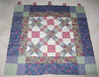 HANDMADE FABRIC QUILTED Quilt Wall HANGING NAVY BLUE BURGUNDY IVORY GREEN 38x41