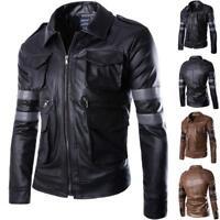 Men's Leather Coat Jacket Motorcycle Cavalier Outerwear Winter Pop
