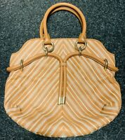 Genuine Ladies Tan Leather Bally Shoulder Bag With Embroidery - Excellent Cond