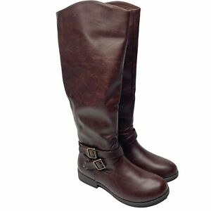 JG Women's Tall Riding Boots Size 7 Faux Leather Buckle Detail New