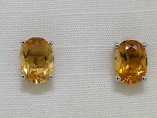 Citrin Ohrstecker 585 Weißgold 14Kt Gold natürliche facettierte Citrine