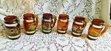 SIX VINTAGE SIESTA WARE AMBER BARREL MUGS / GLASSES WOOD HANDLES SOUVENIR