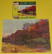 """VINTAGE GUILD JIGSAW PICTURE PUZZLE """"MILL STREAM"""" FALL COUNTRY RIVER FISHING CIB"""