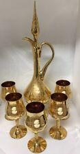 """Beautiful Gold Cameo 19"""" Decanter With 5 Wine Goblets"""