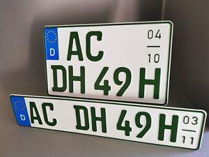 2 H-Kennzeichen Saison Grün, Unimog, Traktor, vorne 520 x 110 hinten 340 x 200mm