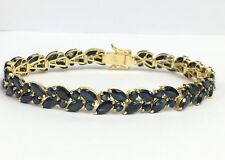 "14k Solid Yellow Gold Cluster Leaf Bracelet, Natural Sapphire 7.0"". 14.09 Grams"