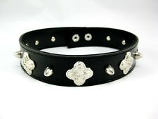 New Goth Punk Biker Faux Leather Choker Necklace with Metal Spikes #N2514
