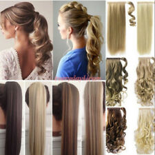 Real Silky Remy Hair Extensions Wrap Around Ponytail as Human Clip on One Piece