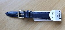 "Hirsch 14mm-French Navy-stiched Leather Band-""Brumby""-G/PBUCKLE-W/Resisant"