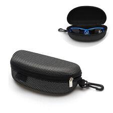 Black Portable Zipper Eye Glasses Sunglasses Clam Shell Hard Case Protector Box