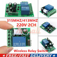 433MHz 315MHz 220V 2 CH Channel Wireless RF Relay Remote Control Switch Receiver