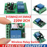 433MHz 315MHz 220V 2 CH Channel Wireless RF Relay Remote Control Switch Receiver