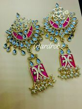 Unique meenakari pearl kundan earring for women Brass Chandbali