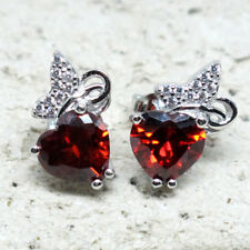 EXQUISITE 2 CT HEART GARNET RED 925 STERLING SILVER STUD EARRINGS
