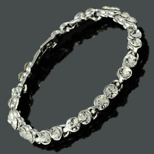 Women Crystal Clear Topaz Tennis Bracelet(Extended Clasp)