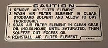 Honda CB400A CB400T XL250 XL350 XL175 Calcomanía Etiqueta de advertencia de precaución Filtro de aire