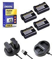 4 EN EL15 Batteries+Charger for Nikon DSLR D7200-D7100-D7000-D810-D800-D750-D610