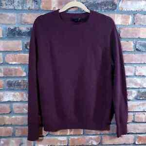 J. Crew Maroon Lambs Wool Crewneck Sweater Long Raglan Sleeve Classic Men's Sz S