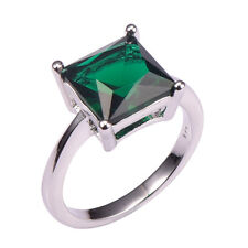 Princess Cut, Big Stone Emerald Lady's Ring, White Gold Plated, Size 5,6,7,8,9