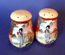 Nippon Satsuma Salt And Pepper Shakers - Hand Painted With Moriage - Signed