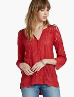 Lucky Brand Red Lace Button Up Tunic Top Shirt Blouse Knit V Neck Womens Sz M