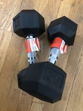 2x Weider Rubber Hex dumbbells pair - set of 20lb NEW 40lbs total Weight