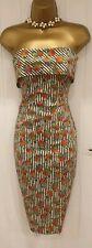 Karen Millen Cotton Strapless Summer Striped Floral Wiggle Pencil Dress UK 10