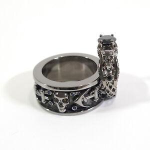 Matching Skull Engagement Ring Anchor Band Skull Rings Couple Set Gun Metal Fn