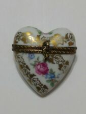 Peint Main Limoges France Trinket Heart And Flowers chinese girl w amburila