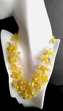 AMBER Delicate Airy Necklace Choker Bead Collar Seed Beads Jewelry 53 gr