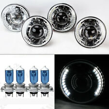 "FOUR 5.75"" 5 3/4 Round H4 Clear Projector LED DRL Glass Headlights w/ Bulbs Ford"