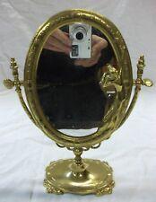 Ancien miroir de coiffeuse pivotant sur pied en bronze massif style Louis XVI