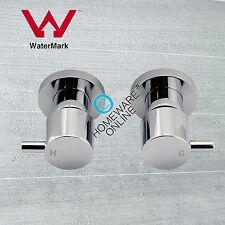 Bathroom basin bath shower round 1/4 turn twin taps wall  brass chrome Watermark