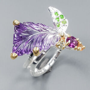 Amethyst Ring Silver 925 Sterling Gemstone Carving jewelry Size 8 /R148632